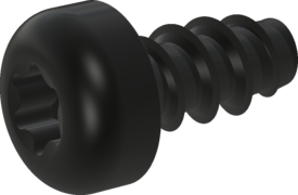 Screw for Plastic, Screw STS-plus KN6039 2x4 - T6, steel, hardened 10.9, Zinc-Nickel-plated,  baked, passivated black/ Cr-VI-free, sealed